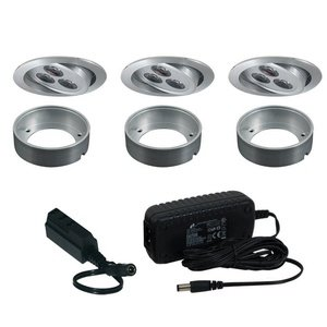Jesco KIT-PK711-A 3-Light Adjacent LED Slim Disk Kit, Brushed Aluminum