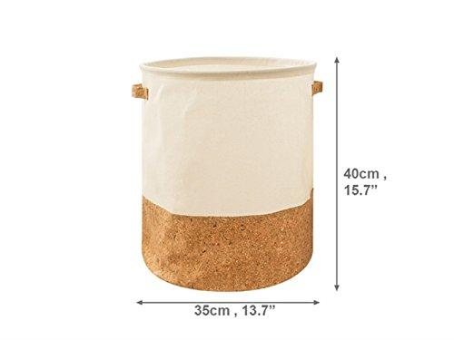 Gelaiken Lightweight Stitching Storage Box Cotton and Linen Box Sundries Storage Bucket (Light Brown+White) by Gelaiken