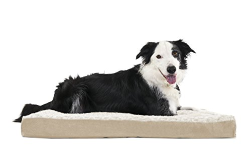 FurHaven Pet Dog Bed | Deluxe Memory Foam Ultra Plush Mattress Pet Bed for Dogs & Cats, Cream, Large