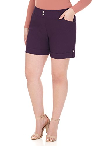 Rekucci Curvy Woman 6 Inch Plus Size Slimming Short with Cuff (14W,Deep Plum)