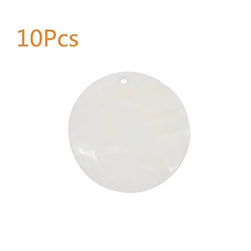 Kesheng 10Pcs Natural 45mm Flat Round Mussel Shell Drop Charm Beads for Jewelry Making
