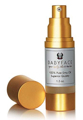 Babyface Emu Oil - Premium Grade for Dry Skin, Rashes, Sensitive Eye Cream, AntiAging Treatment, Tattoo Healing, 1.3 oz