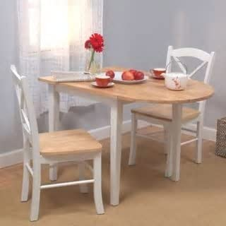 Amazon Com Simple Living Country Cottage Drop Leaf 3 Piece Dining Set White Table Chair Sets