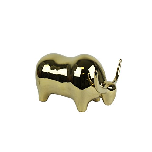 Sagebrook Home Ceramic Art Deco Bull Head Down, Gold, 11.5x8.5x6.5,