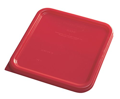 Rubbermaid Commercial Products 1980200 Rubbermaid Commercial Plastic Food Storage Container Lid, Square, Red, 4 and 8 quart