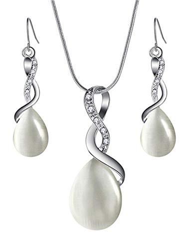 evelove Women Fashion Geometric Shape Dangle Earrings Pendant Necklace Jewelry Set Jewelry Sets