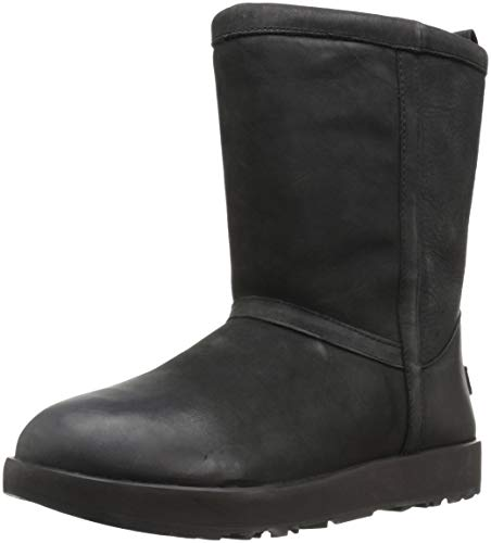 UGG Women's Classic Short L Waterproof, Black, 8 M US (Boots Leather Ugg Women)