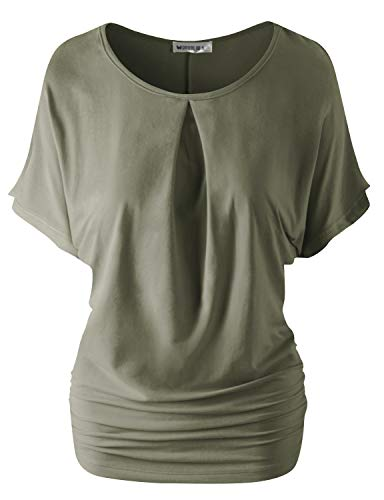 CLOVERY Loose Fit Shirring Dolman Blouse Top for Women with Plus Size Olive L ()