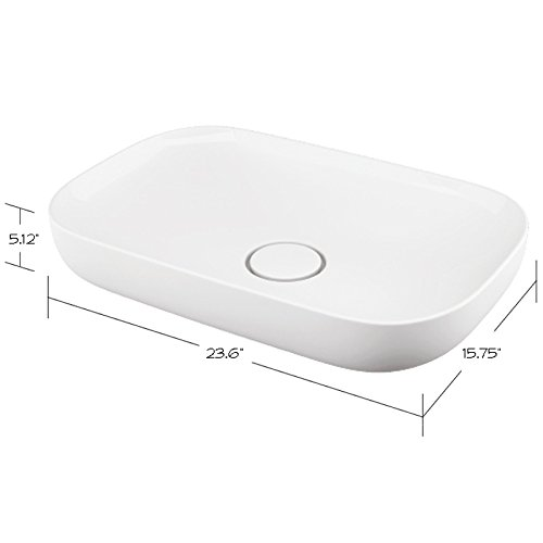 White 23.625 L X15.75 W X5.125 H Transolid TL-1640-01 Franklin Vitreous China Above Counter Rectangular Bathroom Sink