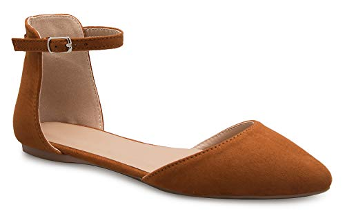 Ballet Flat Closure Pointed Toe Suede Fashion Tan Buckle D'Orsay Strap K Women's Ankle OLIVIA wTRqxY6CR