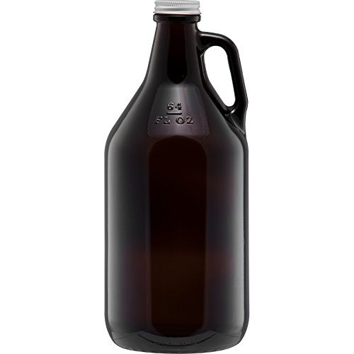 The Cary 30WA64W Glass Beer Growlers, 1/2 gal, 4.875' ID, Glass, Amber (Pack of 6)