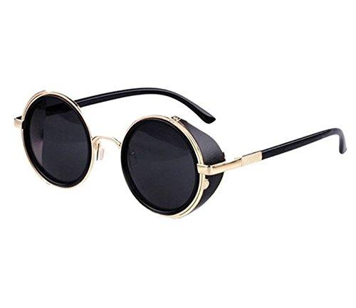 GOOD IUCK motorcycle retro sunglasses sunglasses windproof cycling glasses (Gold, - Sunglasses Mens Hermes