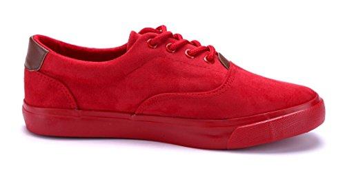 Schuhtempel24 Damen Schuhe Low Sneaker Rot Flach