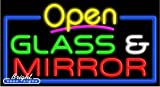 Glass & Mirror Open Neon Sign - 20 x 37 x 3 inches - Made in USA