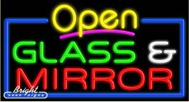 Glass & Mirror Open Neon Sign - 20 x 37 x 3 inches - Made in USA by Bright Neon Signs
