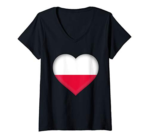 Womens I Love Poland Design | Polish Flag Heart Outfit V-Neck T-Shirt