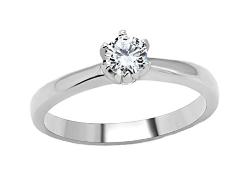 (AA Jewelry Brilliant .5ct Solitaire Engagement Ring Designer Fashion Stainless Steel)