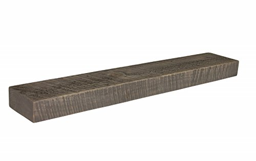 "Joel's Antiques, Floating Mantel, Shelf, Mountable, Rustic, Solid Wood, Pine, Weathered Wood, Gray, (3"" x 7"" x 42"")"