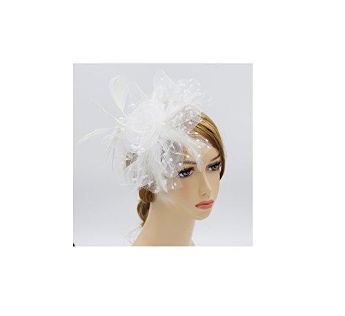 Wheebo Fascinator Hat Flower Feather Mesh Net Veil Party Wedding Headband for Women Girls (A-White)