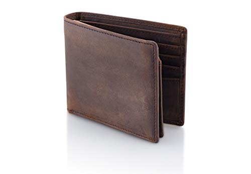 ecca8351263e Stealth Mode Brown Leather Bifold Wallet for Men With ID Window and RFID  Blocking, One Size
