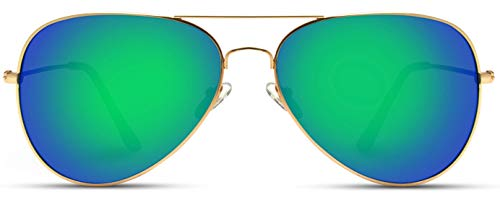 WearMe Pro - Polarized Metal Frame Pilot Style Aviator Sunglasses (Gold Frame/Mirror Green Lens, 60) ()