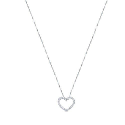 La Joya 1/10ct Round Natural Diamond 10K White Gold Heart Tiny Charm Pendant Diamond Heart Necklace Pendant for Teens - Charm Diamond Heart