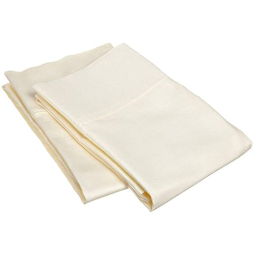 Cotton Standard Pillowcases 400 Thread Count 100% Cotton Pillow Cases Long-Staple Combed Cotton Pillows for Sleeping, Soft & Silky Sateen Weave Bed Pillow Covers-Ivory Solid    ()