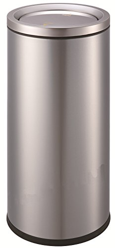 AMENITIES DEPOT 16Gallon/61Liter Luxurious Stainless Steel Trash Can Garbage Bin with Swing Cover (silver)