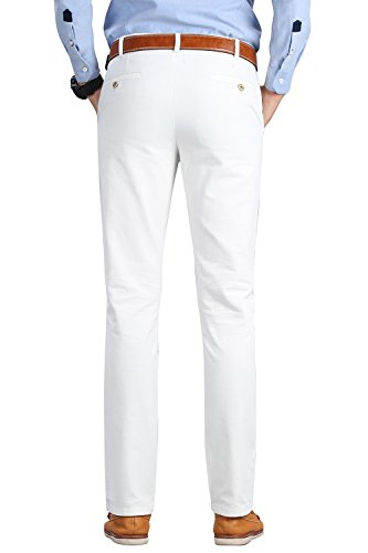 INFLATION Men's Stretchy Slim Fit Casual Pants,100% Cotton Flat Front Trousers Dress Pants for Men,White Pants Size 33 by INFLATION (Image #2)