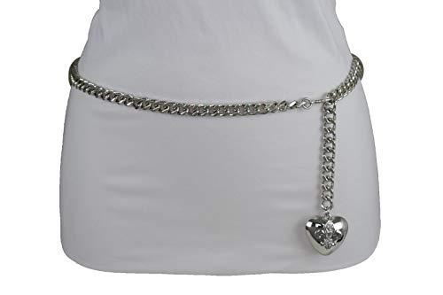 Women Hip Waist Silver Metal Chain Fashion Belt Love Heart Buckle Charm XS S M by RIX Fashion Luxury (Image #6)'