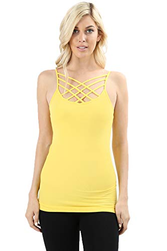 Melody Women Sexy Front Criss Cross Straps Camisole Tank Top (Yellow, Small/Medium)