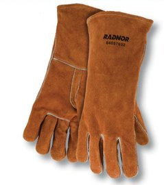 Radnor Glove Welders Large Bourbon Brown 14'' Select Shoulder Split Cowhide Cotton Lined With Reinforced, Straight Thumb -1 Dozen Pairs