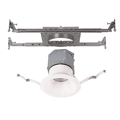 (WAC Lighting R4DRDN-F930-WT Pop-in 4in Round Kit LED Recessed Light, New Construction, 4