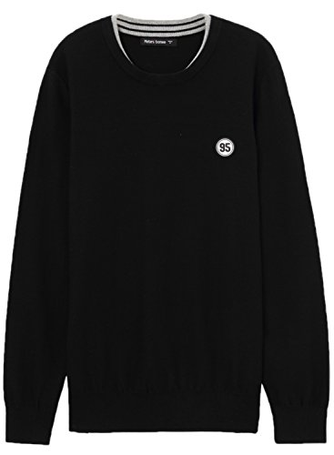meters-bonwe-mens-casual-solid-round-neck-long-sleeve-knitted-pullover-sweater-black-xxl