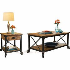 Rustic 2 Piece Pine Wood Living Room Furniture Set | Vintage Style Country  Side End Table | Antique Industrial Black Coffee Table | Traditional U0026  Modern ...