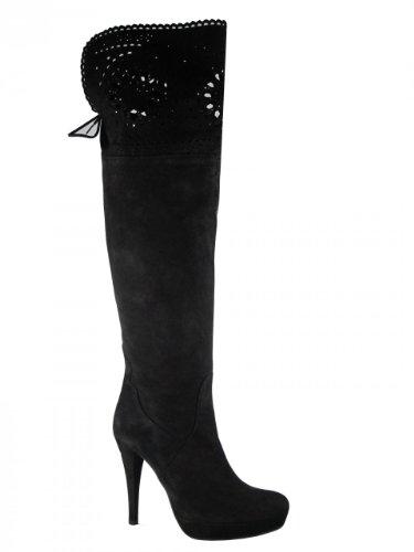 Dames Davinci Italiaanse Dressy Lederen Zwarte Suede Over De Knie Laarzen Van Designer Albano
