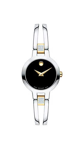 - Movado Women's Amorosa Watch, Concave Dot Museum Dial & Diamond Accents, Silver/Gold/Black (607185)