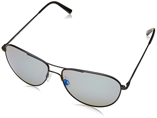 Serengeti 8314 Alghero Sunglass, Satin Black Frame, Polarized 555nm Blue - Serengeti Sunglasses Medium Aviator