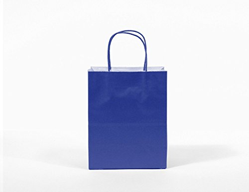 12CT MEDIUM ROYAL BLUE BIODEGRADABLE, FOOD SAFE INK & PAPER, PREMIUM QUALITY PAPER (STURDY & THICKER), KRAFT BAG WITH COLORED STURDY HANDLE by Gift Expressions