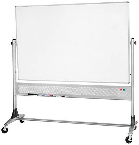 (Best-Rite 669RH-DC Platinum Mobile Reversible Whiteboard & Bulletin Easel, 4 x 8 Feet Panel Size, Porcelain Steel Markerboard & Natural Cork Tack Surface)