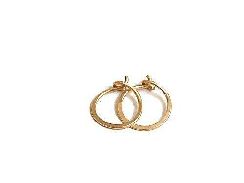 eb58c4287d5c5 14K Gold Flat Endless Huggie Classic 10MM Hoop Earrings