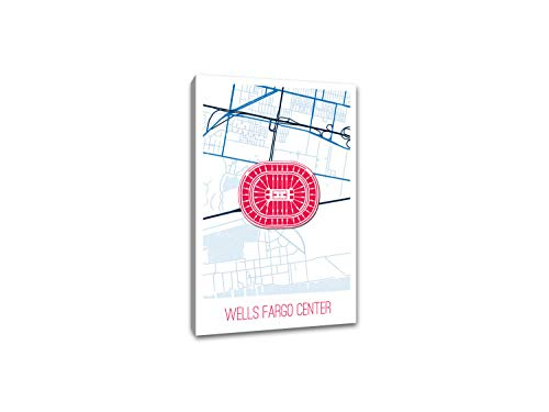 (Wells Fargo Center Map Art Printed on a 32x48 Gallery Wrapped Canvas. Comes Ready to Hang on Your Wall in just Minutes. Perfect for The Traveler in Your Life.)