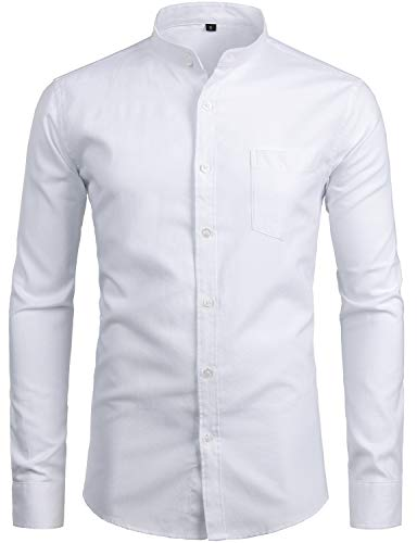 ZEROYAA Men's Hipster Banded Collar Solid Slim Fit Long Sleeve Oxford Dress Shirts with Pocket Z112 White Large