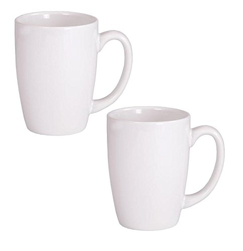 Endeavor Ceramic Coffee & Tea Mug, White 14 oz (Pack of 2) ()