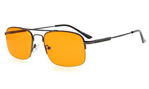 Eyekepper Mens Anti Blue Light Glasses Better Sleep 97% Blue Light Blocking-Bendable Memory Titanium Computer Eyeglasses, Dark Orange Tinted Lens(Gunmetal, - Bendable Titanium Eyeglasses