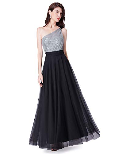 (Ever-Pretty Women Fashion Sequins Floor Length Single Shoulder Bridesmaid Dresses 8US Black )