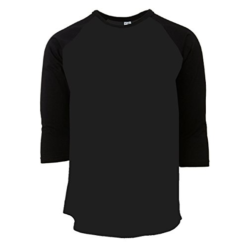 Rich Cotton Raglan T-Shirts (2XL, Black/Black) (Sleeve Out T-shirt Raglan 3/4)