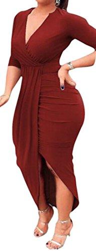 Vestito Lunga Allentato Scollo Womens A Rosso Vino Cromoncent Manica Aderente V Con Pieghe Profonda Involucro A twpBP
