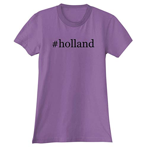 The Town Butler #Holland - A Soft & Comfortable Hashtag Women's Junior Cut T-Shirt, Lavender, Large