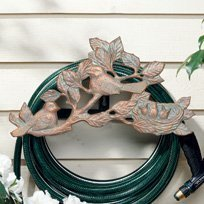 Whitehall Products, Chickadee Aluminum Hose Holder 00389, 18 inches wide by 9.75 inches high, Copper Verdigris by Whitehall Products Chickadee Hose Holder